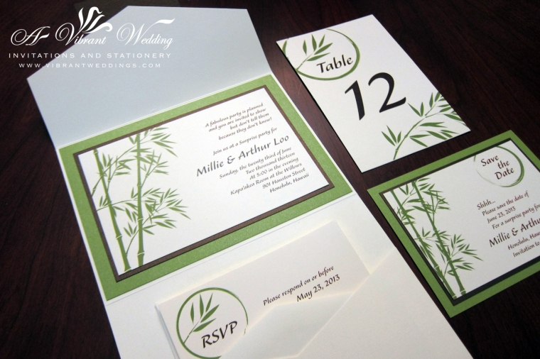 Bamboo Theme Invitation Suite in Ecru, Green and Brown colors.