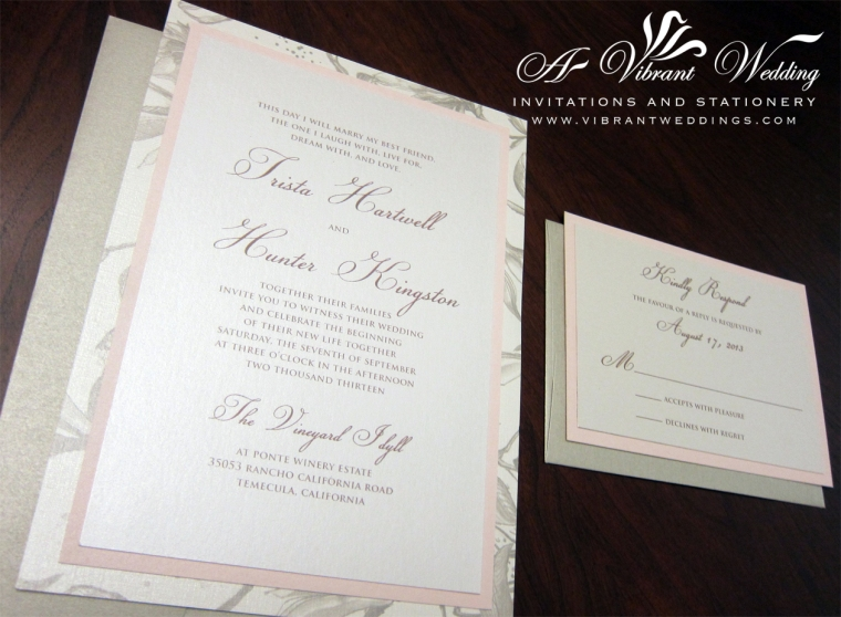 "5x7"" Triple-layered invitation Blush Pink and Champagne Wedding Invitation"
