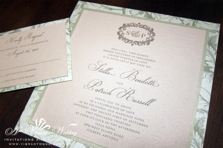 "7x7"" Triple-layered Blush and Champagne Wedding Invitation with Plumes Leaf Scroll Pattern Border"