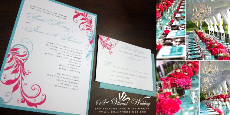 Turquoise and Pink Wedding Invitation