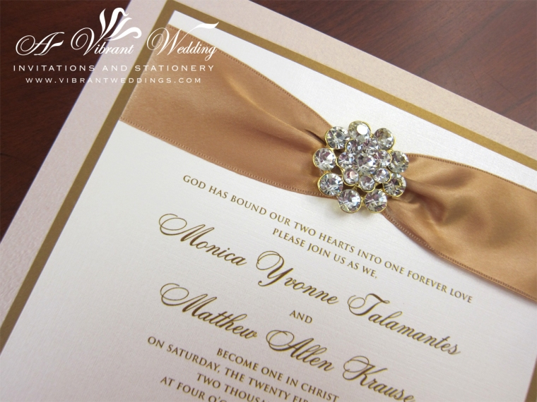 Bling Wedding Invitations: Champagne And Gold Box Wedding Invitation With Rhinestone