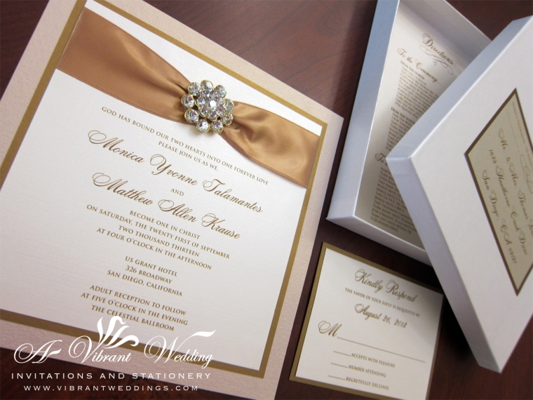 "7x7"" Triple-layered, Champagne & Antique Gold Box Wedding Invitation with Rhinestone Jewel"