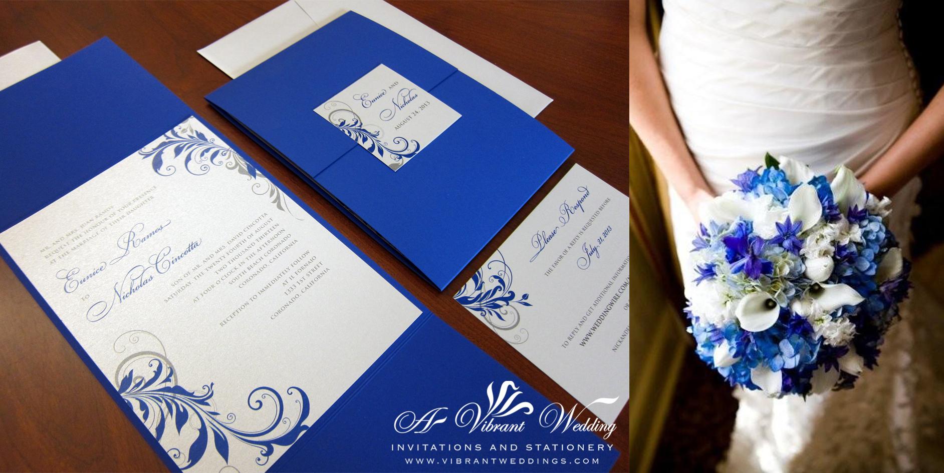 Blue And Silver Wedding Invitation With Leaf Scroll Design U2013 5×7u2033 Gate Fold  Style U2013 A Vibrant Wedding