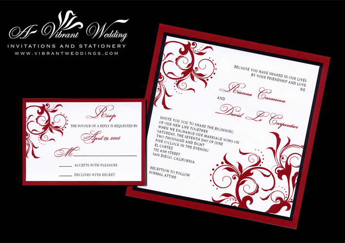 7x7 triple layered red and black wedding invitation with spanish floral scroll design