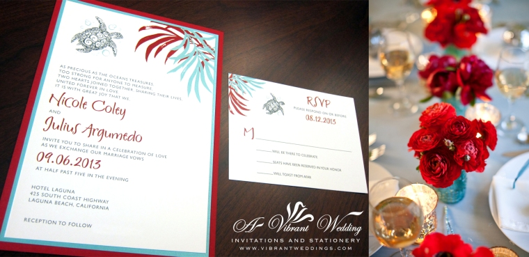 Red and Turquoise Wedding Invitation with Sea Turtle Design