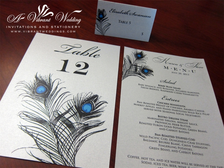 Custom Menu Cards, Escort Cards & Table Number Cards to  match your colors & theme.