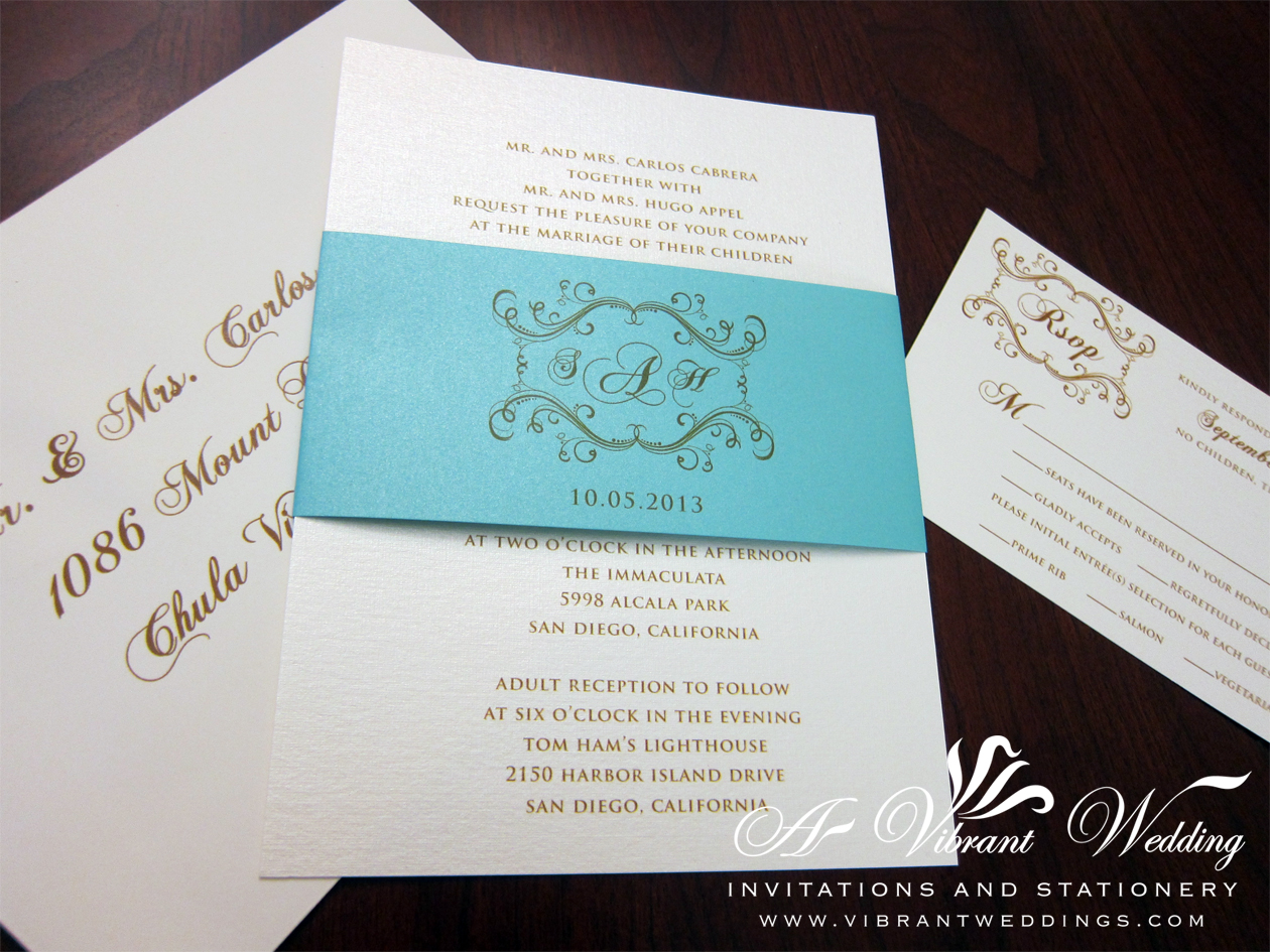Photo Wedding Invitation: Tiffany Blue Wedding Invitation