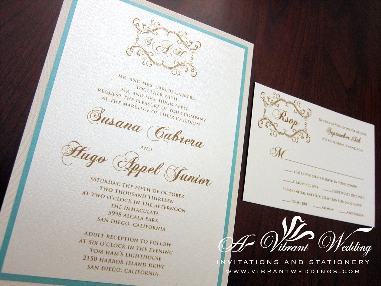 Tiffany blue and Ivory Wedding Invitation – 5×7″ with Monogram ...