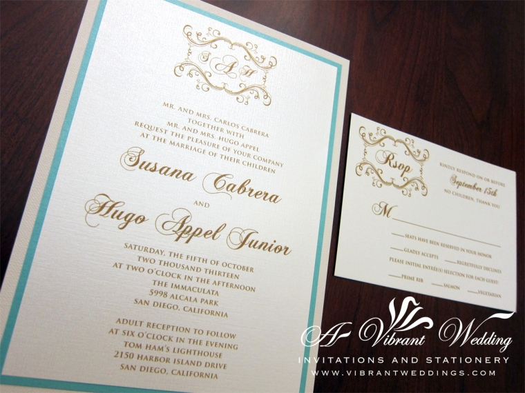 "Tiffany blue and Ivory wedding invitation. 5x7"" triple-layered."