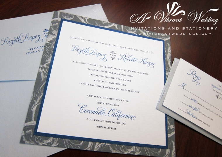 "7x7"" triple-layered Silver and navy blue wedding invitation. Gray and silver plumes pattern backing."