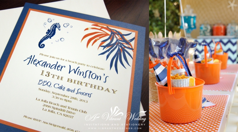 "Blue and Orange Invitation with Sea horse design - 7x7"" Triple-layered"