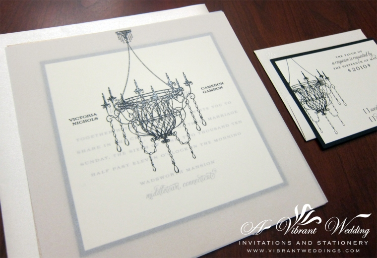 "7x7"" Triple-Layered flat Champagne and Black Wedding Invitation with Chandelier Design"