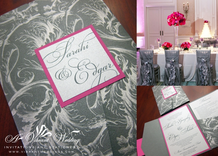 "Silver and Magenta wedding invitation. 5x7"" Pocketfold Graphite Plumes Pattern"
