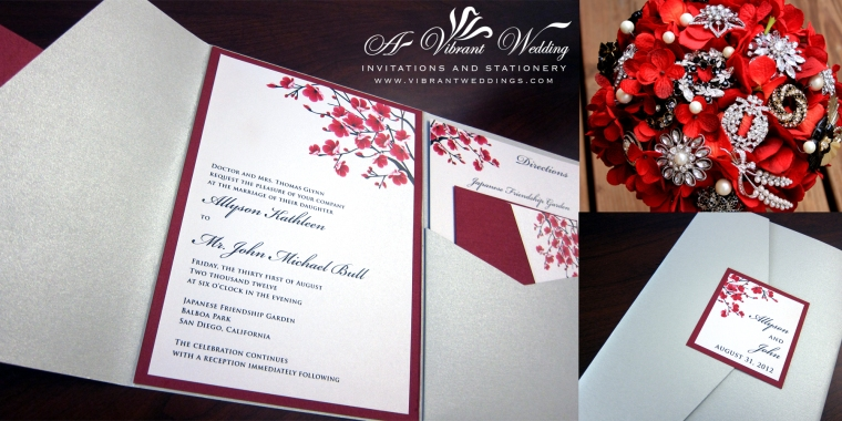 Silver and Red Wedding Invitation with cherry blossoms design