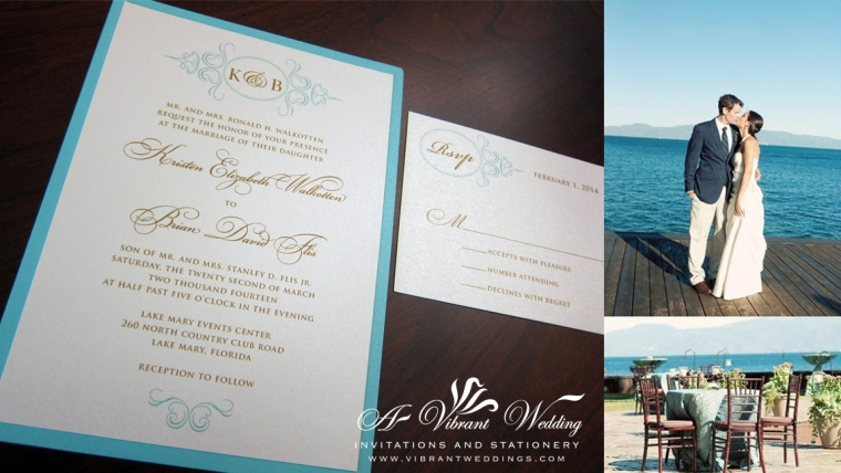 Turquoise, Ivory and Gold Monogram design wedding invitation