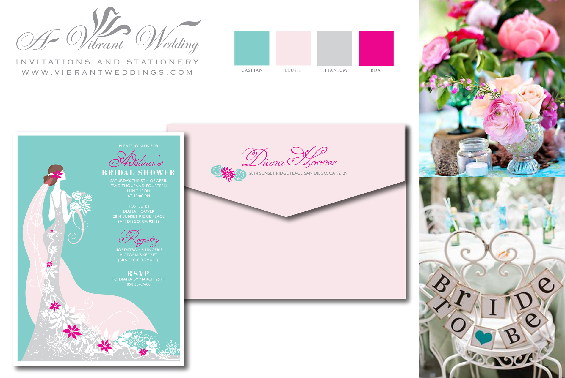 Bridal Shower Invitation – Bride with Floral Cascade March 17, 2014