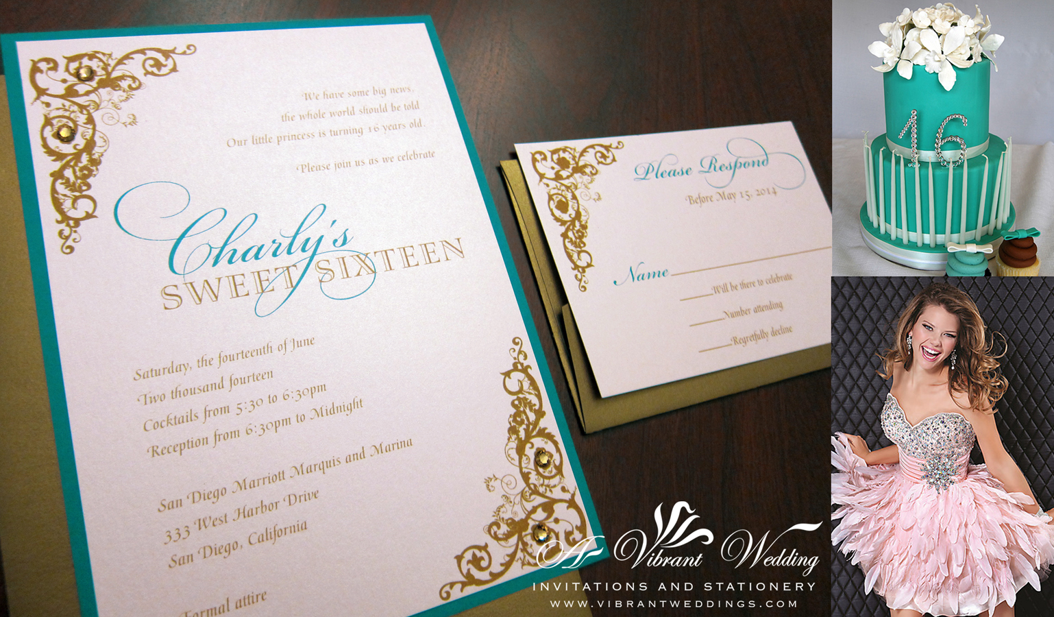 Sweet Sixteen Or Quinceanera Invitation 5x7 Teal And Blush Pink