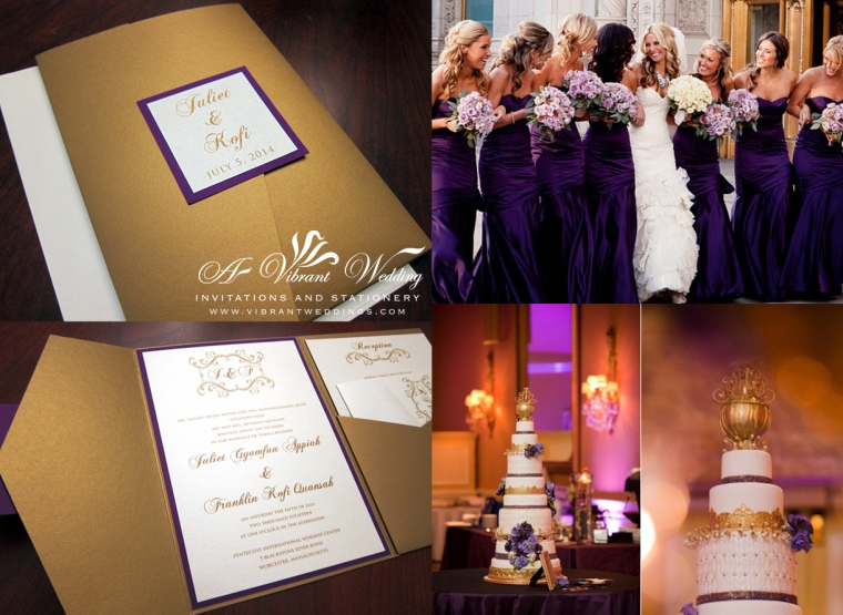 "Gold and Purple Wedding Invitation. 5x7"" Pocket-fold Style. Monogram in Scroll frame design."