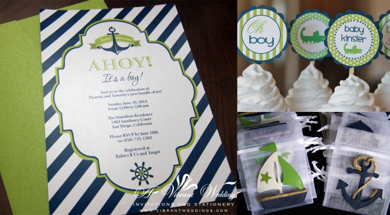 "5x7"" Navy Blue and Green Baby Shower invitations. Sailor Theme"