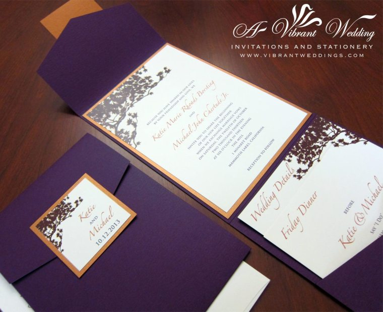 Eggplant Purple and Rusty Orange Wedding Invitation - Fall theme with Tree Branch Design