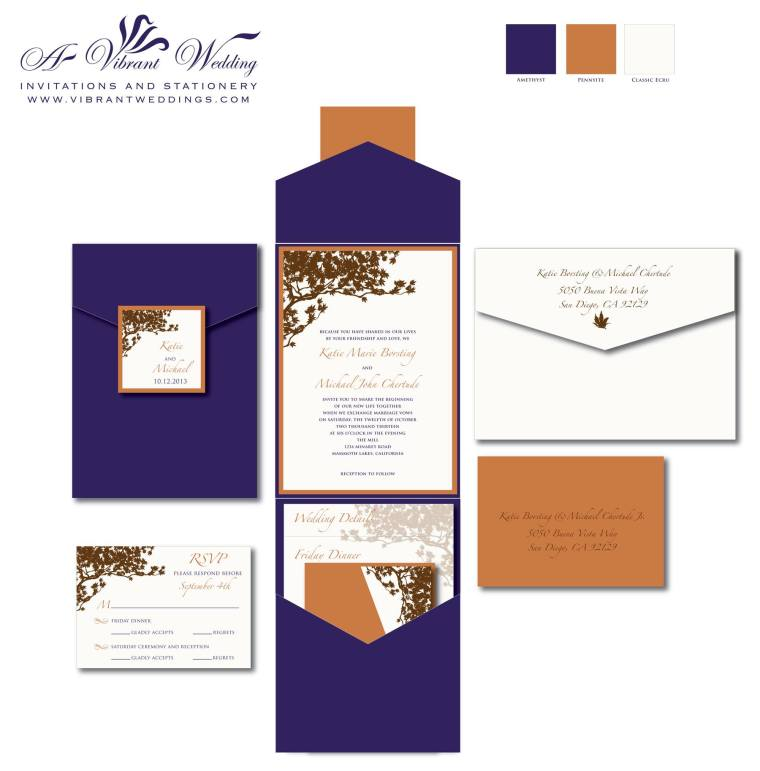 "5x7"" Pocketfold style -Eggplant Purple and Rusty Orange Wedding Invitation - Fall theme with Tree Branch Design"