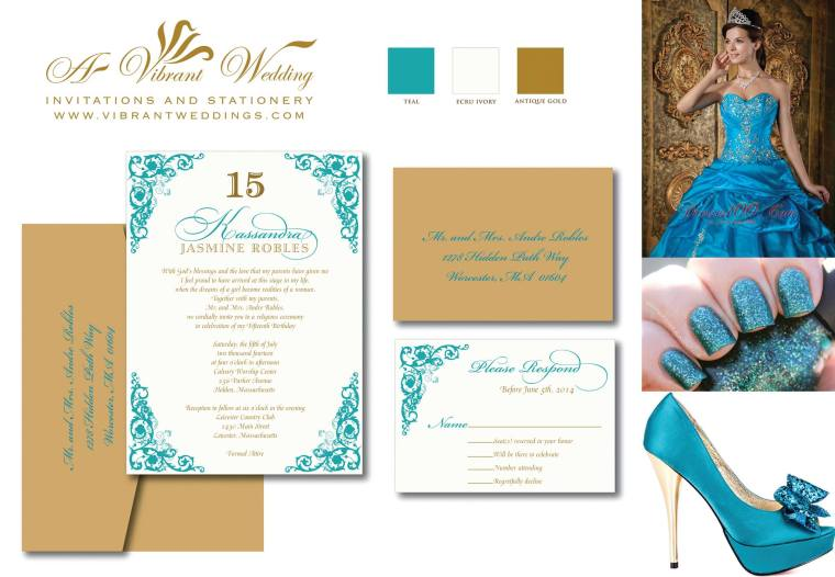 "5x7"" Teal blue and Gold invitation with RSVP card."