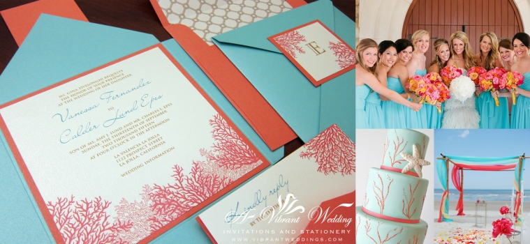 Coral and Turquoise Wedding Invitation with Coral Design.