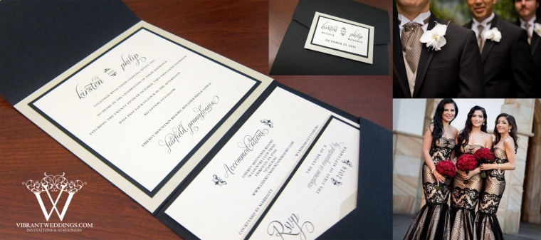 "5.75x5.75"" Pocketfold Style Black and Champagne Modern Invitation."
