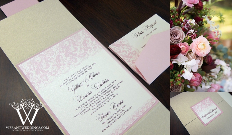 "Seashell Champagne, Blush and Marsala colored wedding invitation with Digital Lace Design- 5x7"" Gatefold Style"