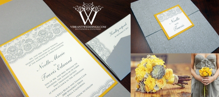 "Ash Gray and Sunflower Yellow Wedding Invitation with Floral Digital Lace-5x7"" Gatefold Style"