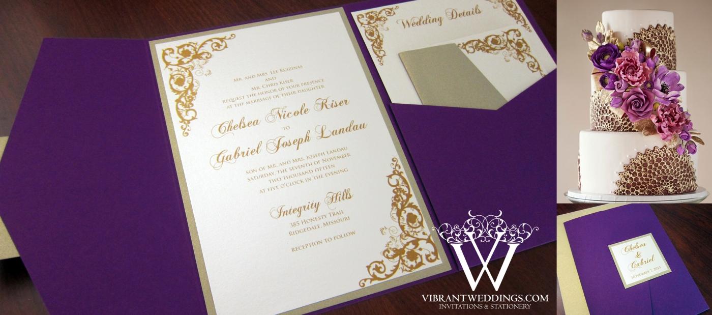 Purple and Champagne Wedding Invitation – Pocket-fold Design with ...