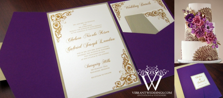 5x7 Purple and Champagne Pocketfold Invitation with Corner Scroll Designs