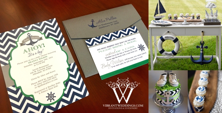 "5x7"" Nautical Baby Shower with Chevron Design"