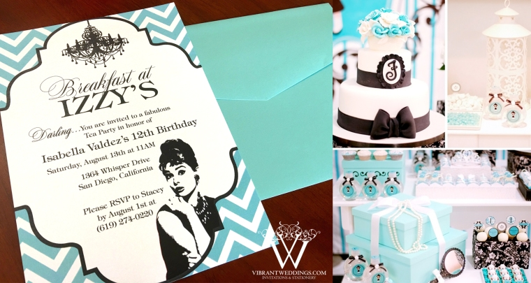 "5x7"" Breakfast at Tiffany's birthday invitation"