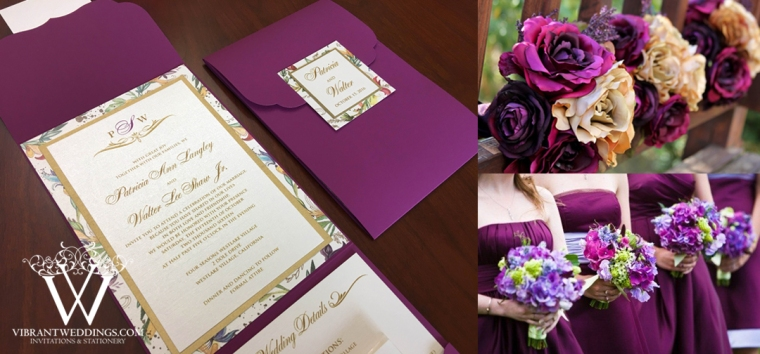 Violet an Gold Wedding Invitation with Floral Matted Border