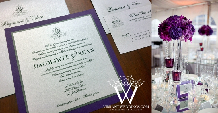 "7x7"" Purple and Silver invitation with Monogram design"