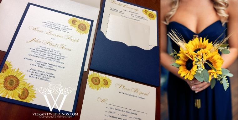 "5x7"" Navy and Ivory pocket-card invitation with Sunflower design"