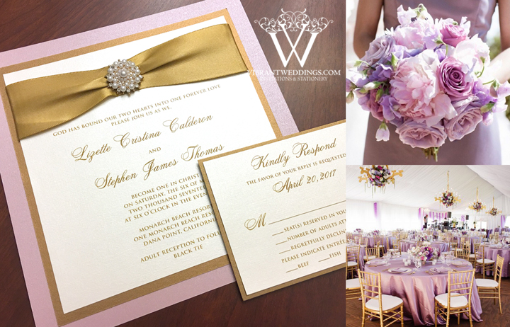 elegant lavender gold wedding invitation with gold satin ribbon pearl jewel a vibrant wedding - Blush And Gold Wedding Invitations