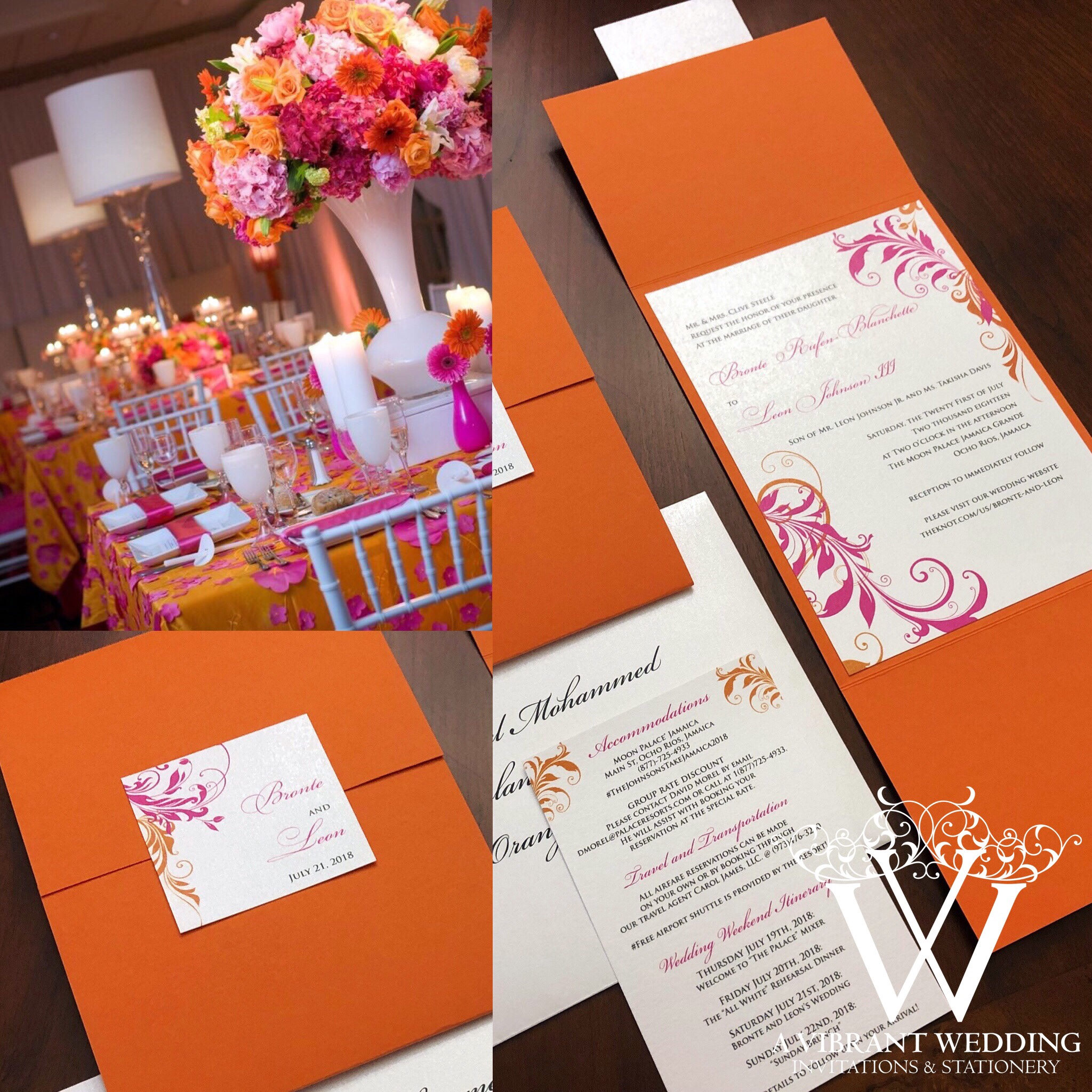 Orange and Pink Wedding Invitation with Spanish Floral Scroll Design ...